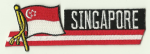 Singapore Embroidered Flag Patch, style 01.